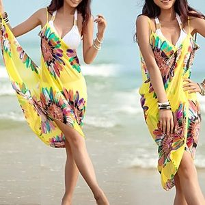NWOT Yellow Floral Scarf Sarong Wrap Swim Cover Up